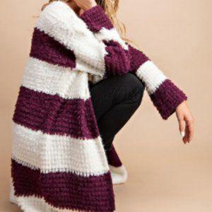 Sweaters - Wine Wide Striped Fuzzy Cardigan